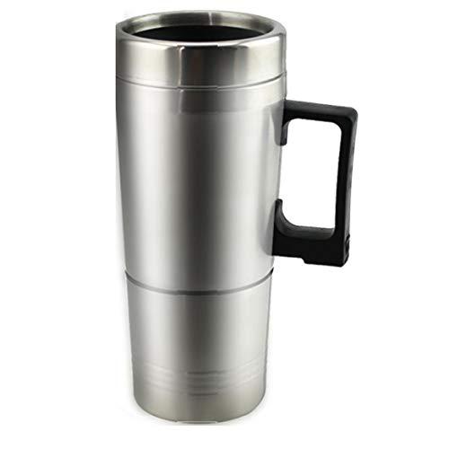 Tasse de chauffe-eau pour voiture - Bouilloire électrique chauffante en acier inoxydable Tasse chauffante portable avec chargeur 12 Volt