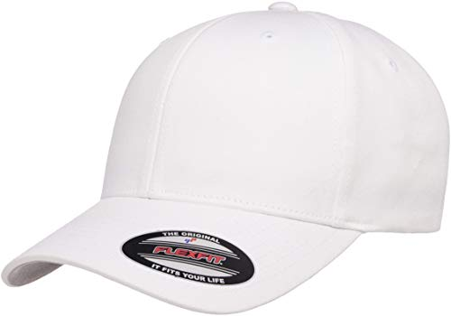 Flexfit Cotton Twill Fitted Cap, White, Large/X-Large