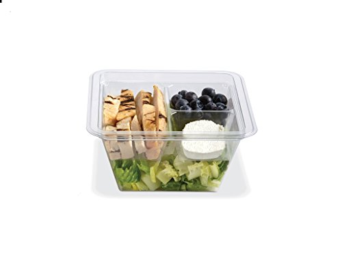 PLACON Fresh'n Clear GOCUBES Set: 24 oz Clear Plastic Container with 3-Compartment Clear Insert Tray and Clear Lid, (50 SETS), PET Material