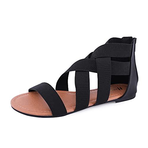 Women's Elastic Flat Sandals Gladiator Flat Sandals Ankle Strap Flat Sandals (8, Black)