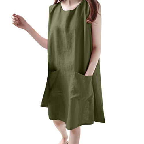 MIRRAY Mode Damen Oansatz ärmellose Feste lose Taschen Baumwolle Leinen lässige Kleidung