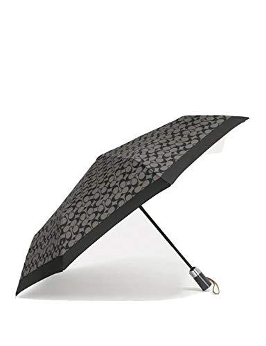Coach Signature Umbrella in Black Grey/Black