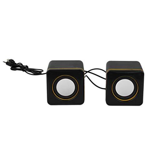 Timetided Mini estéreo, portátil, Cuadrado, con Cable, USB, Audio, Reproductor de música, Altavoz, MP3, Ordenador portátil, sin función de Recarga