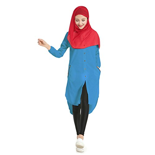 Hougood Longshirt Damen Muslimischer Blusen Langarm Bluse Kleider Hemdblusenkleid Tunika Hemden Top Abaya Muslim Dubai Shirt