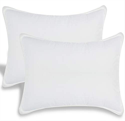 White Classic Bed Pillows for Sleeping   Down Alternative Luxury Hotel Pillow NO Flattening   2 Pack   King Size