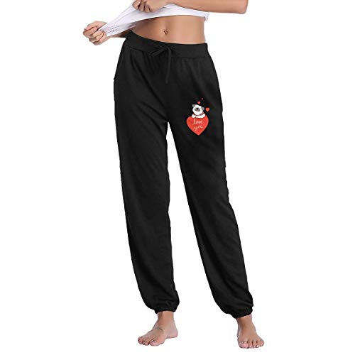 AQqdh Womens Yoga Athletic Pants Love You Pug Jogger Lounge Sleep Sweatpants Pajamas Black