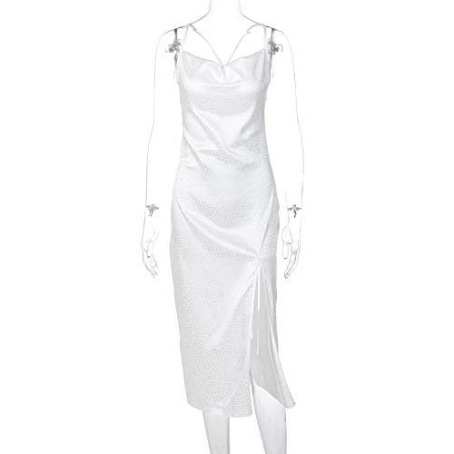 Vestido Midi de satén de Leopardo para Mujer con Abertura Lateral Cruzada sin Espalda Elegante Fiesta Bodycon Ropa de Calle Sexy Cena de Club M Blanco