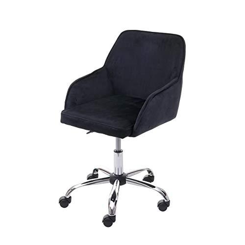 Mendler Bürostuhl HWC-F82, Schreibtischstuhl Chefsessel Drehstuhl, Retro Design Samt ~ schwarz