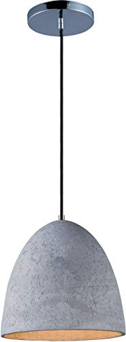 Maxim 12397GYPC Crete JA8 Compliant Unique Urban Concrete Shell LED Pendant Ceiling Light, 1-Light 11 Watt, 11'H x 12'W, Polished Chrome