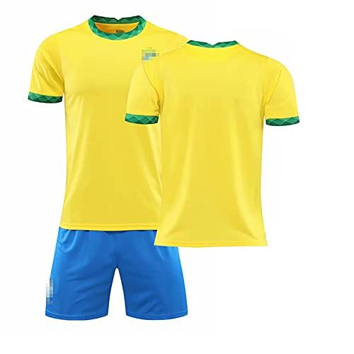 Gxiyan Camiseta De Fútbol Local De La Copa América De La Temporada 20/21, Camiseta De Rugby + Pantalones Cortos, Camiseta De Rugby Personalizada Para Niños Adultos (Color : BYellow, Size : M)