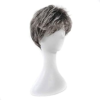 Wigs Men s Middle-Aged Dad Short Straight Hair Performance Props Wig Show White Flower White Grandfather Father Old Man Headgear Wig
