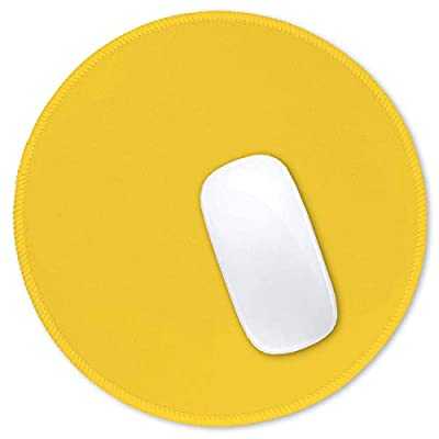 Hsurbtra Mouse Pad, Premium-Textured Small Round Mousepad 8.7 x 8.7 Inch Yellow, Stitched Edge Anti-slip Waterproof Rubber Mouse Mat, Pretty Cute Mouse Pad for Office Home Gaming Laptop Men Women Kids