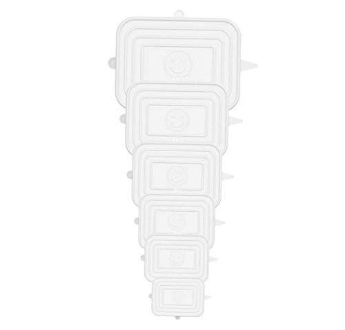 YOUYIKE® Rettangolare Coperchi in Silicone Stretch, 6 Pack di Diverse Dimensioni Coperchio in Silicone per Alimenti, Riutilizzabile ed Espandibile Coperchio per Tazza per per Ciotole, Tazze, lattine.