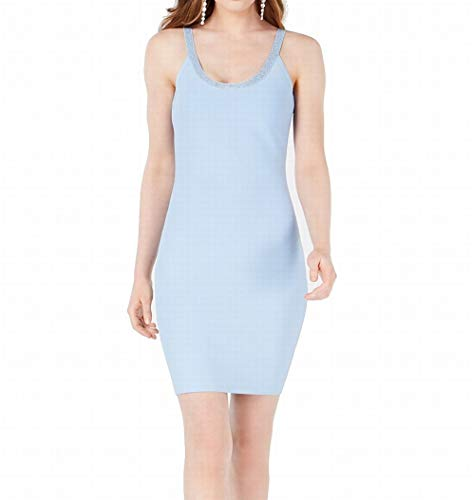 Marciano Womens Embellished Scoop Neck Bodycon Dress Blue S