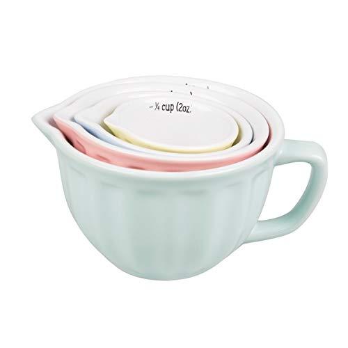 Tassen Messbecher Set 4 Teilig Porzellan Pastell Töne