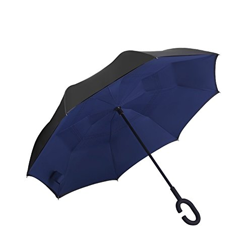 YOUGO Reversion Regenschirm Inverted Umbrella Reverse Folding Double Layer mit C-Form Griff für Auto Outdoor Regenschutz (Blau 5)
