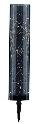 Dehner Solar-Leuchtröhre Smoky, warmweißes Licht, Leuchtdauer bis 6 Stunden, ca. 55 x 10 x 10 cm, Kunststoff, schwarz/Gold
