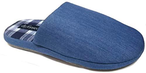 de fonseca Pantofole Ciabatte Uomo in Cotone MOD. Roma Top E VAR2 M623 Azzurro (Numeric_44)