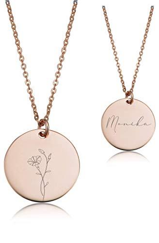 URBANHELDEN - Damen-Kette mit Wunschgravur Anhänger FLOWER September - Personalisierte Namenskette Amulett Rosegold