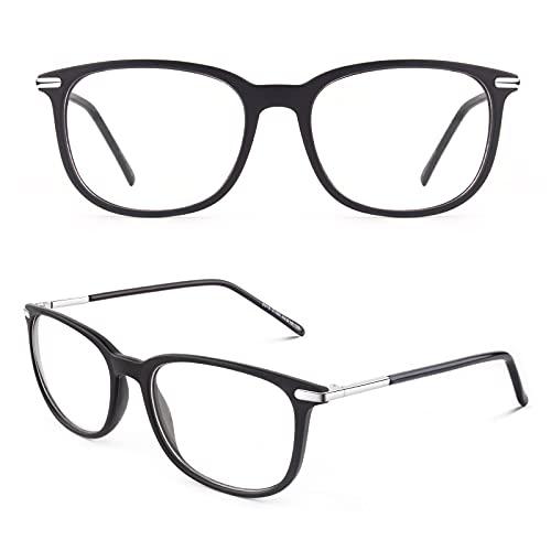 CGID CN79 Klassische Nerdbrille ellipse 40er 50er Jahre Pantobrille Vintage Look clear lens, Matte Schwarz, 52