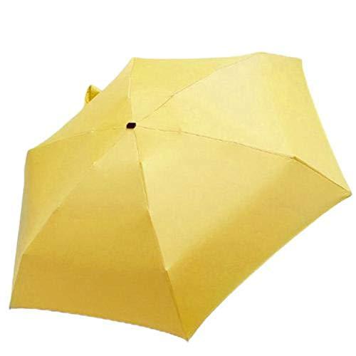Boner Mini Pocket Sonnenschirm Teleskop Faltung Anti UV Licht Regen Sonne Kleiner Regenschirm, Gelb