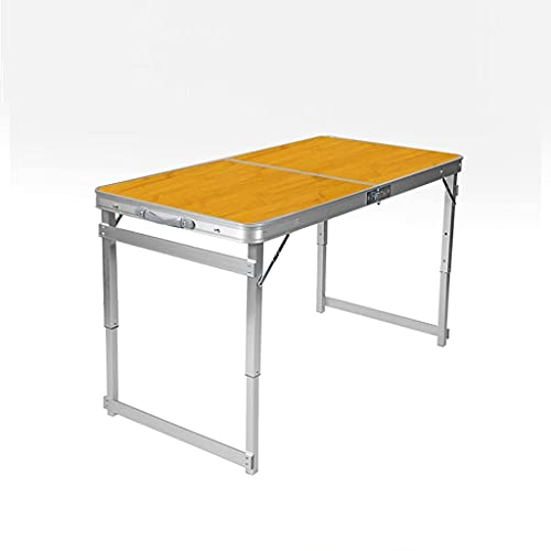 AWJ Mesa de Camping Plegable de 120 * 60 cm con Altura Ajustable,mesas de Picnic Plegables portátiles para jardín de Cocina Interior al Aire Libre