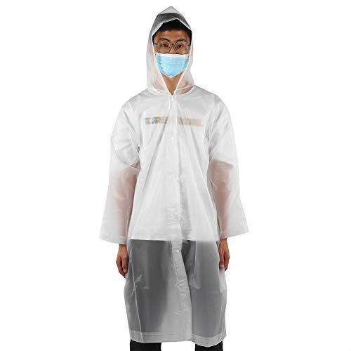 Kapturem żakiet deszczowy, biała opretowa odporność na deszcz cienkie wykonane z EVA dla dorosłych mężczyzn kobiet