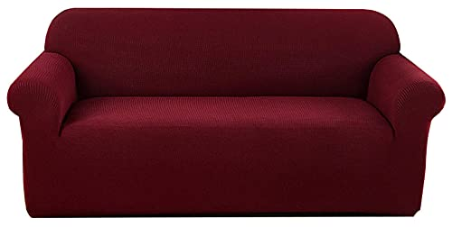 HXTSWGS Weich Dick Sofahusse,Wasserdichter Sofabezug, Sofa Modern Dog Pet Sofa Cover, mit elastischer Unterseite rutschfeste Möbelschutzhülle-Rot_145-180cm