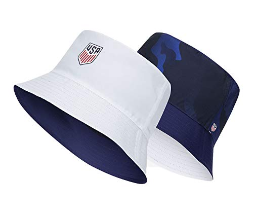 Nike Adult Unisex USA Reversible Bucket Hat (White(CU7840-100)/Loyal Blue, Medium)