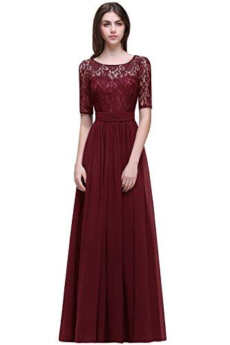 MisShow# Damen Elegant Spitzen Abendkleid Abschlusskleider Brautjungferkleid Navy Blau Gr.32-46, Weinrot, 36