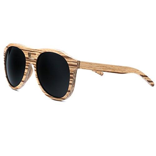 Ablibi Wood Polarized Sunglasses Mens Retro Pilot Classic Glasses in Wood Box