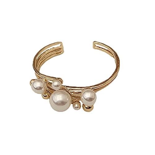 Para mujeres y niñas, oro metal joyería regalo ahuecar brazalete grande perla anillo doble capa geometría pulsera irregular (pulsera)