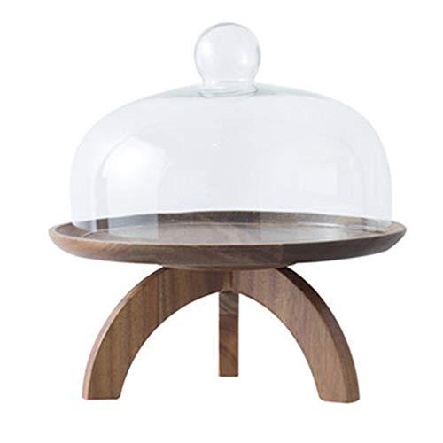 Huante Bandeja de madera para tartas, postres, frutas, con cubierta de cristal, para té, postres, dulces