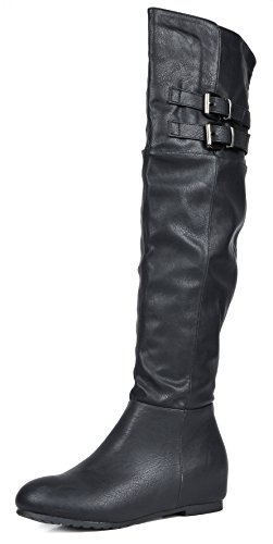 DREAM PAIRS Women's Newtown Black Pu Over The Knee Thigh High Winter Boots Size 9 M US