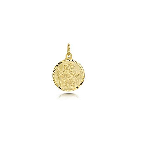 Amberta Colgante con San Cristóbal en Plata de Ley 925 Chapado Oro Amarillo 18K - Medalla de Protección para Mujer y Hombre - Medallón para Viajeros