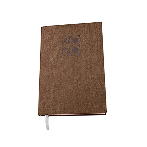 Cabilock Vintage A5 2020 Planificador Eficiencia Agenda Agenda Cuadernos Diario Papelería para Hombre Mujer Estudiante (A5 Marrón)