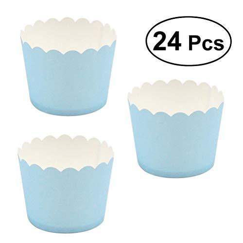 Bestonzon Lot de 24 moules à cupcake en papier pour muffin, muffin, muffin, tasse, papier pour anniversaires et fêtes 5 x 4,5 cm (bleu ciel)