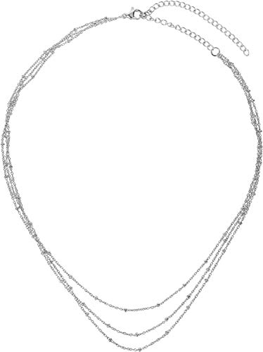 styleBREAKER Women Stainless Steel Layer Necklace 3 Rows with Ball Details, Anchor Chain, Ball Chain, Necklace 05030072, Color:Silver