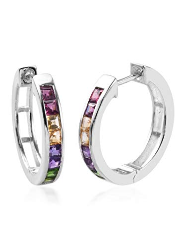 D'Joy Pendientes de aro de plata de ley 925 con diseño cuadrado de piedras múltiples, para mujer