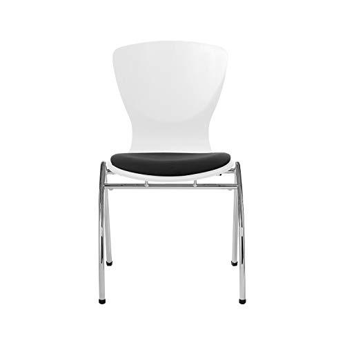Nowy Styl Group Bingo Stuhl, mit Sitzkissen, ohne Armlehnen, stapelbar, Holzschale, weiß/schwarz