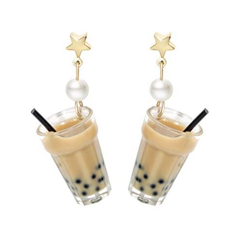 Pendientes de moda creativos lindos mini taza de té de leche pendientes de bebida diseño minimalismo femenino ganchos clips mejor regalo para novias pendientes decoración (color : pendientes)