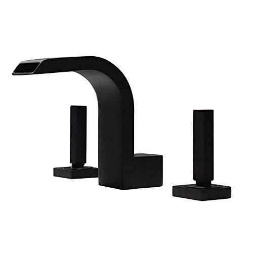 Fácil de Instalar Grifo de baño Lavabo en Cascada Agua con 3 Orificios Asiento Juego de Grifo de bañera Lavabo Moderno Grifo de Cobre Caliente y frío (Color: Negro)