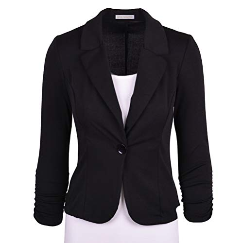 Abuyall Women Tailored Blazer Single Button 3/4 Sleeve Jacket Formal Evening Occasion Outwear Black 2XL