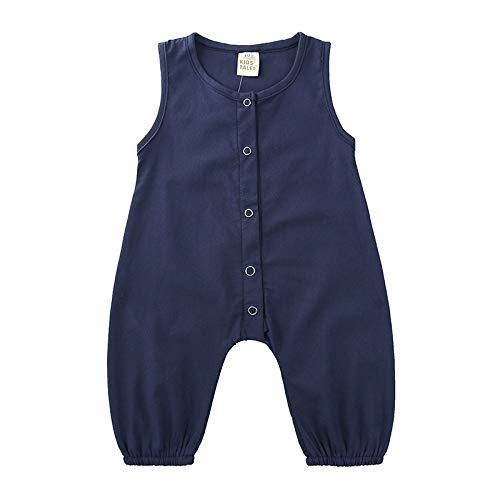 KJK Mono de lino de algodón sin mangas para bebés y niñas, para recién nacidos, botones, casual, para ropa de verano