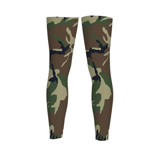 leyhjai Army Camouflage Full Length Sleeves Compression Sleeve Socks Knee Braces for Basketball Cycling