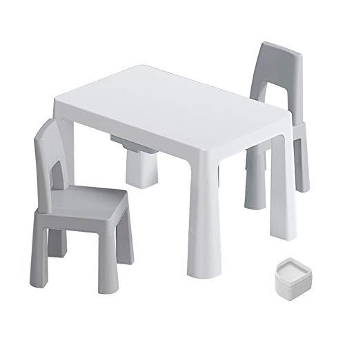 Juego de mesa y silla para niños, mesa de estudio y silla creativa para niños de dos cajones, escritorio/mesa de juego antideslizante con 2 sillas, para jardín de infantes familiar, carga estab
