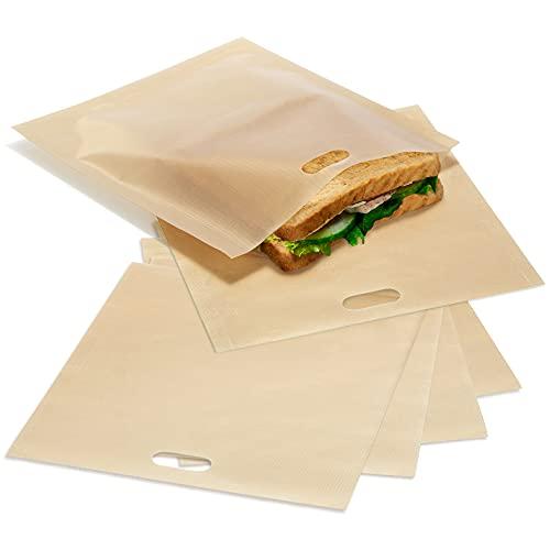 COM-FOUR® Bolsas para tostadas 6x, bolsas antiadherentes reutilizables para tostadas, para tostadas de queso en la tostadora y horno tostador - apto para lavavajillas (6 piezas - beige 16.5x16cm)
