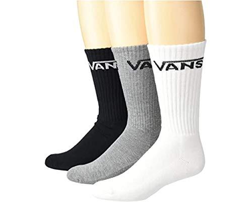 VANS, Classic Crew Socks, 3 Pair Pack, Assorted - Black/Grey/White, LRG (9.5-13)