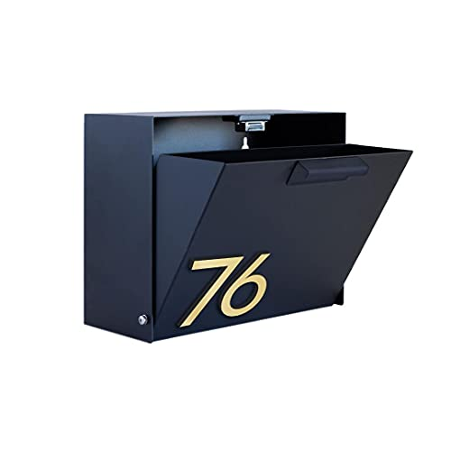 Modern Aspect Cubby Wall-Mounted Mailbox With House Numbers Black, Brown, Gray, White With Customizable Number Options Made In the USA
