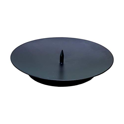 West5Products Black Round Metal Spike Candle Holder Pillar Candle Plate 10cm Dia